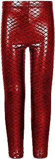 Hi Fashionz Girls Mermaid Leggings Fish Scale Metallic Womens Shiny Sparkle Disco Pants