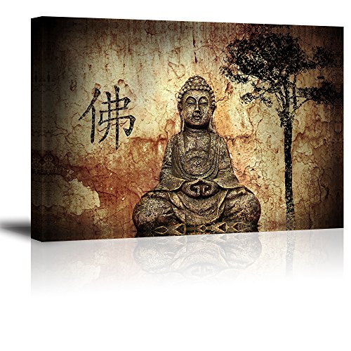 Buddha Wall Art for Living Room, PIY Peaceful Buda Statue Picture Canvas Prints, Zen Painting Home Decor (1' Thick Frame, Waterproof Artwork, Bracket Mounted Ready to Hang)