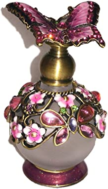Welforth Jeweled Pink Butterfly & Flower Enamel Round Crystal Perfume Bottle