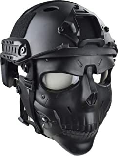JFFCESTORE Tactical Anti-Fog Mask and Fast Helmet, Lens Skull mask Dual Mode Wearing Design Adjustable Strap One Size fits All for Cosplay, CS Game, Movie Prop