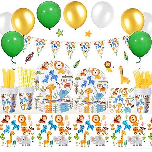 Vajilla Animales Bosque Set Incluye Platos, Tazas, Servilletas, Tenedores, Cuchillos, Pajitas, Mantel, Globos, Decoración Fiesta Temática Animales Safari para Cumpleaños Niños, Decoración Baby Shower