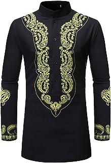 Men Dashiki Shirt African Vintage Tops Tribal Style Long Shirts Ethnic Style Printed Fashionable Tops Upscale Comfortable ...