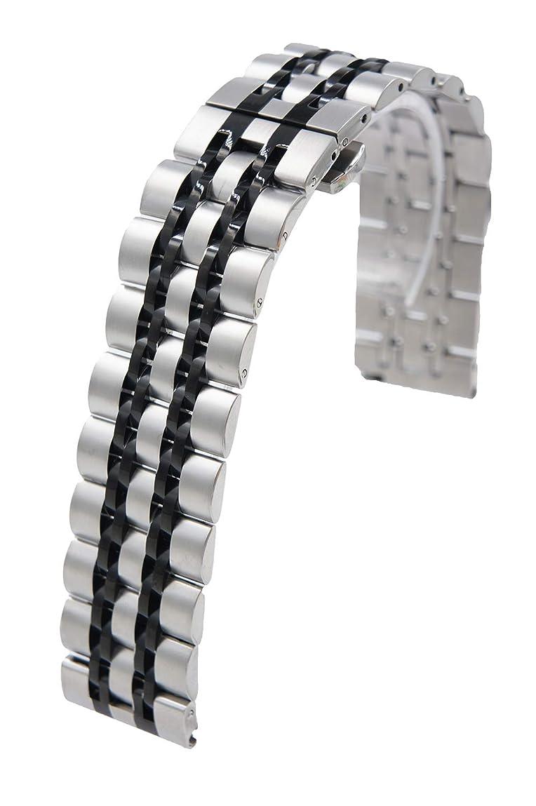 農夫意気揚々ヒール@ccessory 時計バンドと互換性があるGalaxy Watch Active 2 40mm 44mm, 20mm ステンレス メタル 交換バンドSamsung Galaxy Watch 42mm用 (ブラック)