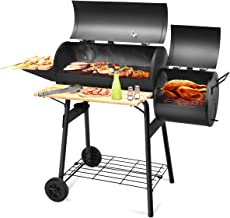 Giantex Charcoal BBQ Grill Barbecue Grill Outdoor Rolling Grill with 2 Grilling Racks, Offset Smoker, Shelf and Wheel Pit Patio Backyard Home Meat Cooker, Black