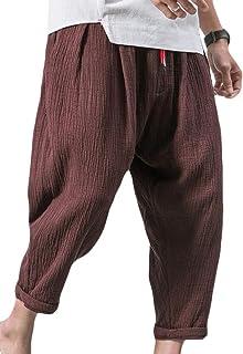 Men's Cotton Linen Pants Elastic Waist Loose Baggy Trousers
