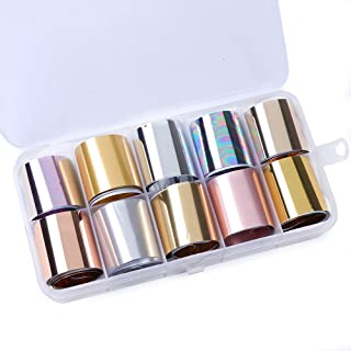 Macute Holographic Nail Transfer Foils Nails Supply Matte Metallic Nail Art Stickers Decal 10 Designs Gold Silver Nail Foil Transfers for Women Fingernails and Toenails Decorations Polish Wraps Set