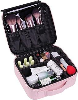 VASKER Makeup Case Travel Makeup Bags Organizer for Women Professional Leather Cosmetic Bag Train Case Box Storage Pink Po...