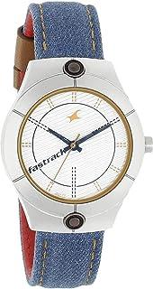 Fastrack Silver Dial Blue Denim Strap Watch, NM6178SL01 / NL6178SL01