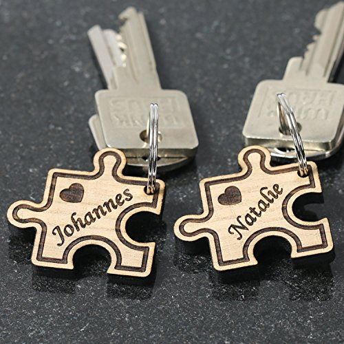 Colgante del amor de madera auténtica, con grabado personalizado a elección, llavero, puzzle