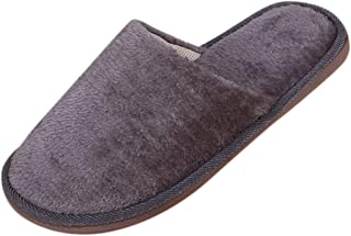NUWFOR Men Warm Home Plush Soft Slippers Indoors燗nti-Slip Winter Floor Bedroom Shoes?Gray,10.5-12 M US?