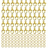 300Pcs Alloy Gold Lobster Claw Clasps with Open Jump Rings,Necklace Fasteners Hook for DIY Jewelry Making Accessories(12x6mm)