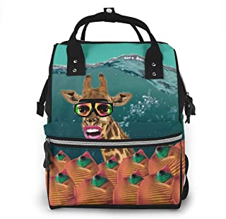 Luiertas Rugzak, JOJOshop Giraffe dragen duikmasker grote multifunctionele Travel Back Pack, grote capaciteit, waterdicht ...