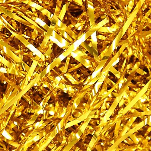 Lausatek Geschreddertes Papier 200 Gramm, Seidenpapier für Geschenkverpackungen Raffia-Geschenkkorb-Füllpapier Geschenkbox Dekorations(Gold)