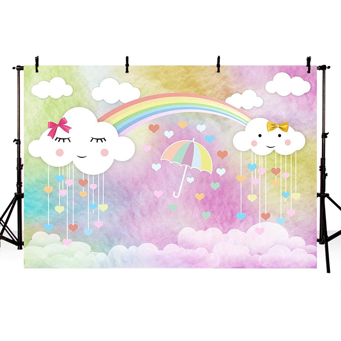 MEHOFOTO Cute White Cloud Colorful Photo Studio Backdrop Props Princess Birthday Girl Baby Shower Party Decorations Rainbow Umbrella Photography Background Banner for Cake Table Supplies 7x5ft