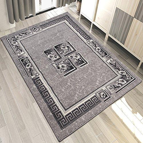 Carpeto Designer Teppich Modern Blumenmuster Griechisch Meliert In Grau - ÖKO TEX (200 x 300 cm)