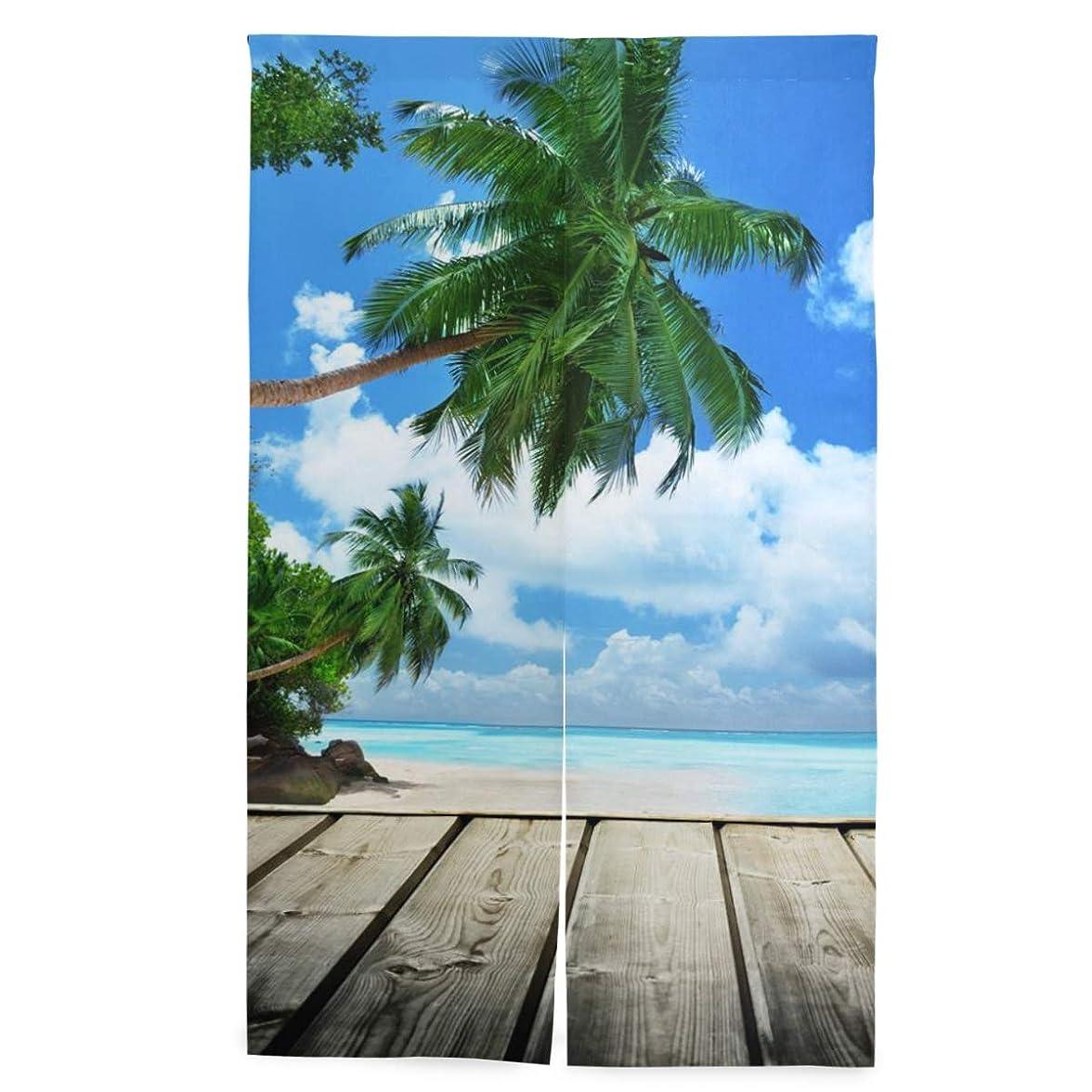 セッション大使ハングSAMAU のれん 遮光 間仕切り 暖簾 海 ハワイ 北欧 風景 空 ロング 突っ張り棒付き 86×丈143cm