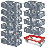 10 Eurobehälter, LxBxH 600x400x150 mm, Industriequalität, lebensmittelecht, grau + Transportroller