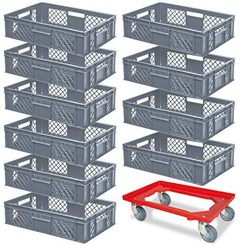 10er SPAR-Set Euro-Stapelbehälter PLUS GRATIS Transportroller, 600x400x150 mm Industriequalität lebensmittelecht grau