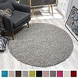SANAT Teppich Rund - Hellgrau Hochflor, Langflor Modern Teppiche fürs Wohnzimmer, Schlafzimmer, Esszimmer oder Kinderzimmer, Größe: 120x120 cm