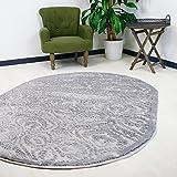 mynes Home Teppich Oval Grau Versace Kurzflor 3D Ornamente Velour Designer Wohnzimmer hochwertig (160 x 230 cm)