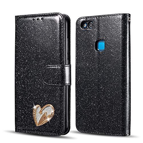 QLTYPRI Hülle für Huawei P8 lite 2017, Glitzer PU Leder Handyhülle Kartenfach Standfunktion Handschlaufe mit Eingelegten Herz Diamond Flip Schutzhülle Kompatibel mit Huawei P8 lite 2017 - Schwarz