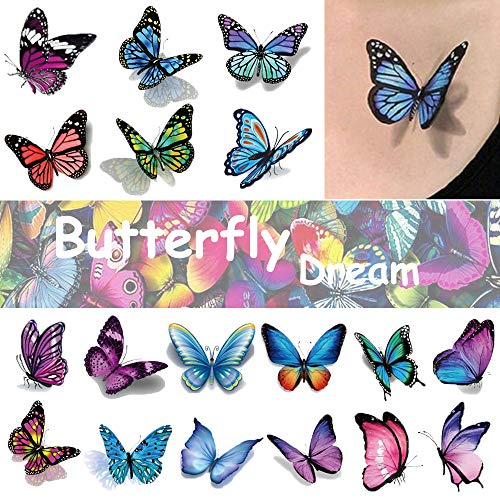 Ooopsi Butterfly Tattoos for Kids Womens - 110 Pcs 3D Tattoos, Colorful Body Art Temporary Tattoos, Butterfly Party Favors