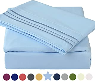 TEKAMON Premium 4 Piece Bed Sheet Set 1800TC Bedding 100% Microfiber Polyester - Super Soft, Warm, Breathable, Cooling, Wrinkle and Fade Resistant - 10-16