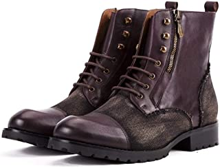 TONGDAUAE Handmade Leather Top Layer Men's Boots Cowhide Color Matching British Retro Casual Personality Chelsea Boots (Color : Purple, Size : 38-EU)