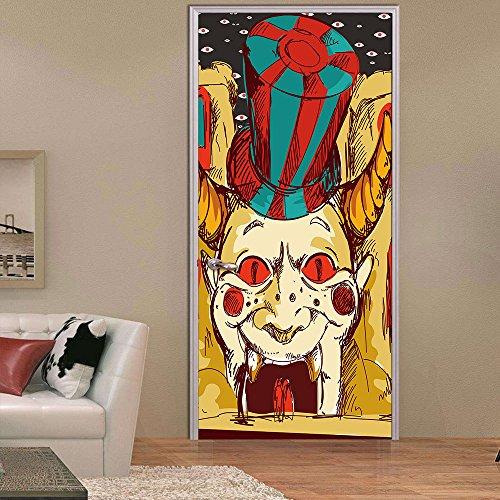 3D Türaufkleber Halloween-Clown Poster Arbeitszimmer Tür Aufkleber Abnehmbare Pvc Selbstklebende Wandbild Aufkleber Wasserdichte Schlafzimmer Room Decor Aufkleber,