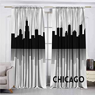Chicago Skyline Heat Insulation Curtain Downtown Skyscrapers Illinois Tourism Travel Country Urban Minimalist for Living Room or Bedroom W52 x L95 Inch Black and White