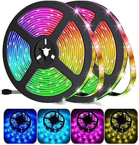 10 m Bluetooth tira de LED musical 5050 RGB IP65 SMD TV impermeable Retroiluminación Tiras Programa Personal, Control APP y Mando a distancia 24 botones para Navidad, Casa Cocina Decoración Coche