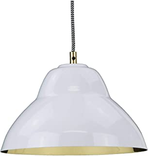 Luxe Dome Pendant Light, Gloss White Glossy White Outside &<br/>Polished Brass Inside Brass