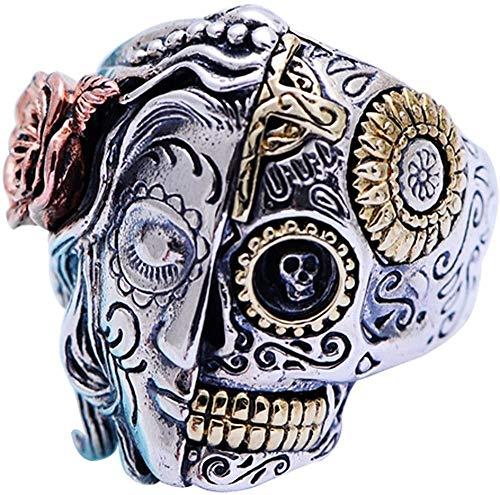 QAZXCV Gotico Argento 925 del Fronte Mezzo di Zucchero degli Uomini di Anello del Cranio del Motociclista Gioielli Uomo Donna Dimensioni 7-14,7
