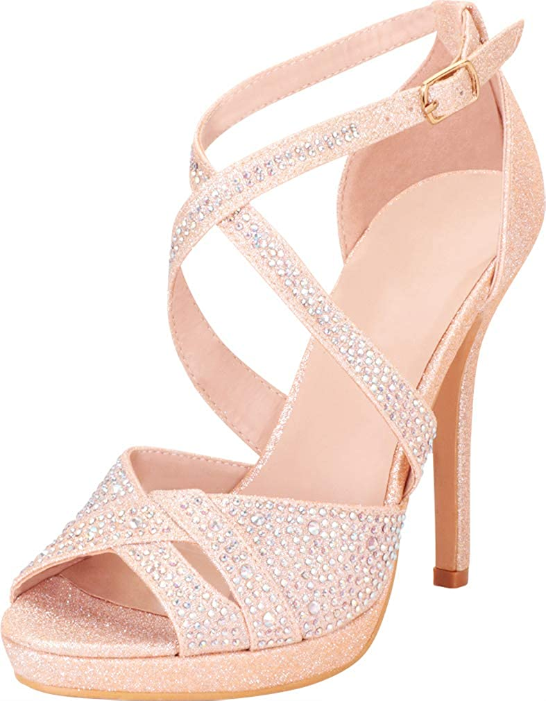 Cambridge Select Quality inspection Women's Peep All stores are sold Toe Crystal Rhi Crisscross Strappy
