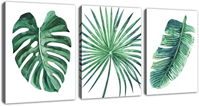 Green Leaf Wall Art Tropical Plants Simple Life Picture Artwork, 3 Pieces Contemporary Canvas Art Minimalist Watercolor Pa...