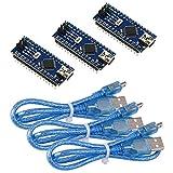 IZOKEE 3 Set Mini Módulo ATmega328P CH340G 5V 16MHz Microcontrolador Board para Arduino Nano con 3pcs USB Cable, Completamente Soldado