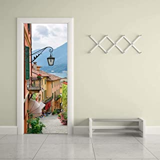 Tifege 3D Door Sticker Wall Decals Mural Wallpaper Old Town DIY Art Home Decor Decoration 30.3x78.7 DM052