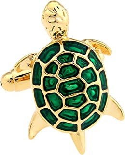 Covink Green and Gold Little Turtle Tortoise Cufflinks with a Gift Box