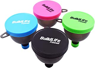BuildLife Fill N Go Funnel - Protein Funnel - Supplement Funnel - Water Bottle Funnel - Powder Container for Supplements, Protein Powder(4 Pack)