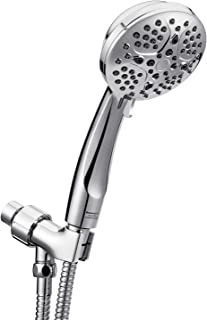 AmazerBath High Pressure Handheld Shower Head with Powerful Shower Spray, 6 Settings Hand Held Shower Head with Hose and Adjustable Bracket - Chrome