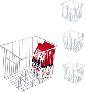 Slideep Refrigerator Freezer Storage Basket Organizers, Deep Wire Household Bins Container with Handles for Kitchen, Pantry, Freezer, Cabinet, Car, Bathroom - Pearl White Set 4