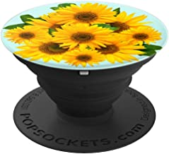 Yellow Sunflower Flower Sun Flower Girasol Blue - PopSockets Grip and Stand for Phones and Tablets