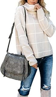 HAOAN Women Casual Pullover Sweater Plaid Turtleneck Side Split Loose Knit Jumper Tops