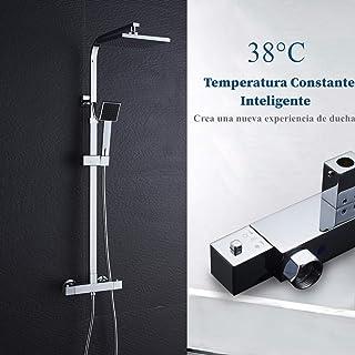 AuraLum Conjunto de Ducha Termostatico - Set de Ducha con Mezclador Termostática, Rociador Ducha Lluvia 20x20cm, Mano de D...