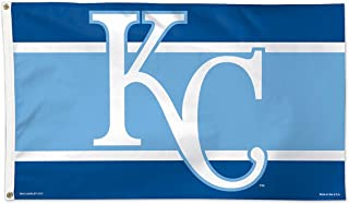 Kansas City Royals Flag 3x5 KC Logo Navy Light Blue Deluxe Grommets Reinforced Flyend MLB