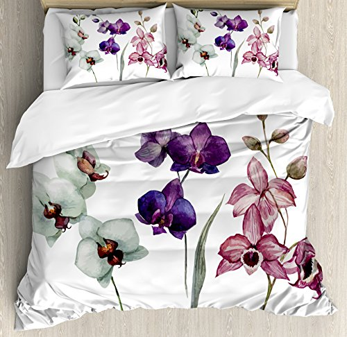 Ambesonne Watercolor Flower Duvet Cover Set, Different Orchid Flowers on Clear Background Exotic Blooms, Decorative 3 Piece Bedding Set with 2 Pillow Shams, Queen Size, Rose Purple