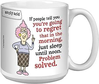 Tree-Free Greetings Extra Large 20-Ounce Ceramic Coffee Mug, Aunty Acid Sleep Until Noon