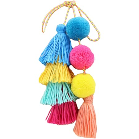 Pompon Quaste Schlüsselanhänger Boho Art-Taschen-Charme Schlüsselanhänger für Handtaschen-Anhänger Handtasche Zubehör für weibliche Mädchen