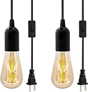 Vintage Plug in Hanging Light Kit, 2 Pack Industrial Pendant Lighting Fixture, E26 E27 Retro Hanging Lights with Plug in Cord, 9.8 FT Black Cord with On/Off Switch Hanging Lamp for Living Room Bedroom