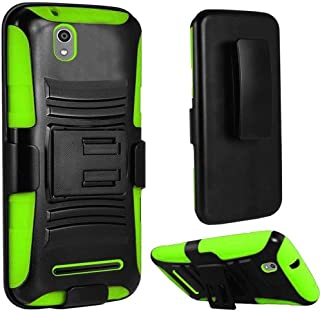 New Holster + Kickstand Hybrid Scratch Resistance Case Phone Cover Accessory for ZTE Lever Z936L LTE (Green)